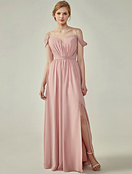 cheap -A-Line Spaghetti Strap Floor Length Chiffon Bridesmaid Dress with Sash / Ribbon / Ruching