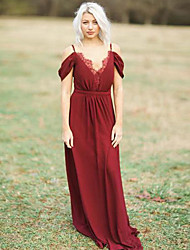 cheap -A-Line Spaghetti Strap Floor Length Chiffon Bridesmaid Dress with Lace / Pleats