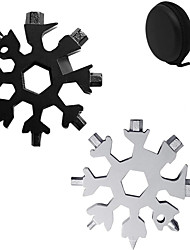 cheap -18-in-1 Stainless Multi-Tool Card Portable Keychain Screwdriver Bottle Opener Snowboarding Multi-Tool Come with Black Gift Box (BlackSilver)