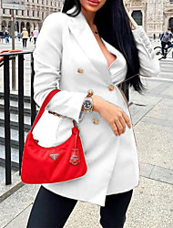 cheap -Women's Double Breasted Peaked Lapel Blazer Solid Colored White / Black / Red S / M / L