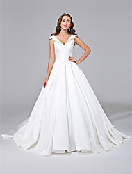 cheap -A-Line Wedding Dresses Simple Off Shoulder Court Train Detachable Satin Short Sleeve Handmade Custom Bridal Dresses 2020