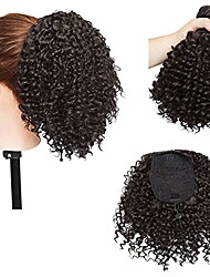 cheap -short afro curly ponytail hair extensions piece for african american black women ponytail extension afro drawstring curly ponytail for women dark brown