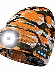 cheap -unisex bluetooth led beanie hat with light, built-in stereo speaker and mic,headlamp headphone beanie,gifts for men&women,winter warm knit cap for sports outdoors(camouflage yellow)