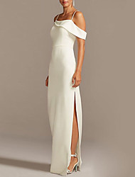 cheap -Sheath / Column Spaghetti Strap Floor Length Jersey Bridesmaid Dress with Split Front / Open Back