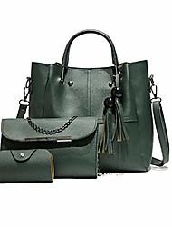 cheap -3pcs women casual solid adjustable strap tassel three-piece set shoulder bag shoulder bags