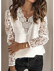 cheap -Women's Basic Knitted Hollow Out Solid Color Pullover Cotton Long Sleeve Sweater Cardigans V Neck Fall Winter White