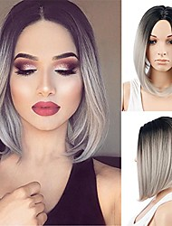 cheap -royalvirgin women's wig short bob grey wig fashion top quality heat resistant synthetic ombre black to gray hair wigs for women