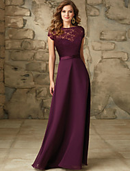 cheap -A-Line Bateau Neck Floor Length Chiffon / Lace Bridesmaid Dress with Sash / Ribbon / Open Back