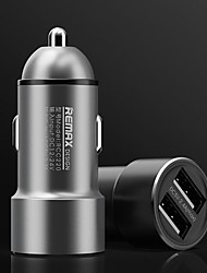cheap -REMAX Metal Dual USB Fast Charge Car Charger Dual Port Car Charger 2.4A Car Cigarette Lighter