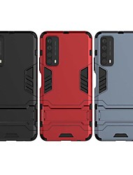cheap -Phone Case For Huawei Back Cover P Smart 2021 with Stand Solid Color TPU