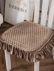 cheap -Golden Velvet Solid Color European Style Embossing Thicken Chair Cushion Home Office Seat Bar Dining Chair Seat Pads Garden Floor Cushion