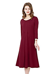 cheap -cocktail midi dress for women 3/4 sleeve loose dress pleated dress wine red m