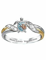 cheap -turtle ring mom loves you forever statement ring for women girls crystal animals healthy longevity sea turtle ring,best gifts for mom at christmas (9)