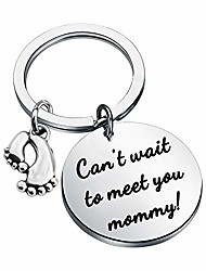 cheap -daddy to be keychain can't wait to meet you daddy baby birth pregnancy announcement gift for new dad (can't wait mommy keychain)