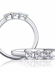 cheap -platinume plated silver 0.45ct 3.5mm g-h-i color three stone cut moissanite half eternity wedding band for women (7)