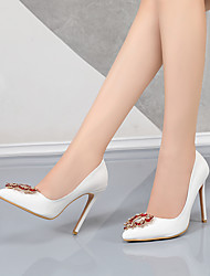 cheap -Women's Heels Stiletto Heel Pointed Toe Business Sexy Minimalism Wedding Office & Career PU Buckle Button Solid Colored White Red Ivory