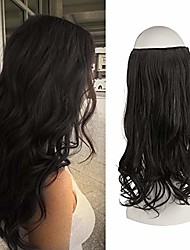 cheap -halo hair extensions,invisible secret wire crown hair extensions one piece curly wavy hair extension synthetic hairpieces for women, 18 inch