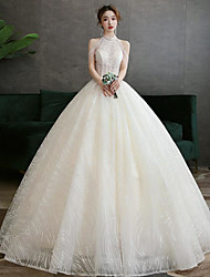 cheap -Ball Gown Wedding Dresses Strapless Floor Length Lace Tulle Sleeveless Country Romantic with Lace Embroidery 2020
