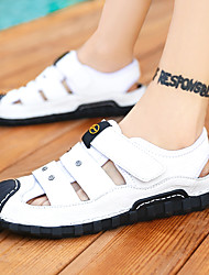 cheap -Men's Sandals Casual Beach Daily Walking Shoes Nappa Leather Breathable Wear Proof White Brown Beige Fall Summer