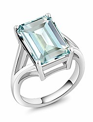 cheap -925 sterling silver sky blue simulated aquamarine women's ring (6.64 cttw, emerald cut 14x10mm) (size 9)