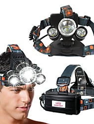 cheap -T1 Headlamps 150 lm LED LED 3 Emitters 4 Mode with Adapter Portable Professional Camping / Hiking / Caving Everyday Use Cycling / Bike Light Black