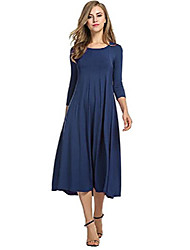 cheap -new women's 3/4 sleeve pleated plain simple loose swing casual a-line midi dress (l=uk 16-18, navy blue)