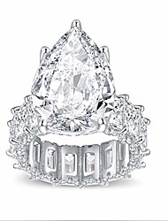 cheap -s925 sterling silver ring pear-shaped cz cubic zirconia or gold-plated sterling silver princess square cut ring, gift engagement wedding ring