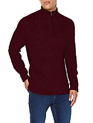 cheap -amazon brand - men's cotton quarter zip jumper, red (wine), 3xl, label:3xl