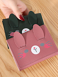 cheap -Women's Bags PU Leather Wallet Cartoon Animal 2021 Shopping Daily Wine Black Purple Red