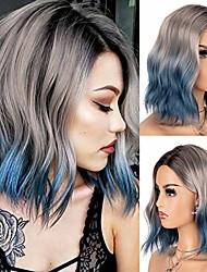 cheap -kryssma blue ombre wig with 3 tones short wavy synthetic bob wigs glueless heat resistant