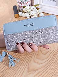 cheap -Women's Bags PU Leather Wallet Zipper Print Plain Sequin 2021 Daily Date Wine Black Blushing Pink Fuchsia