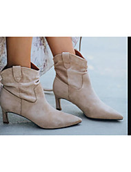 cheap -Women's Boots Stiletto Heel Pointed Toe Daily PU Synthetics Almond