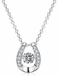 cheap -925 sterling silver pendant necklace dancing diamond stone cubic zirconia women gift