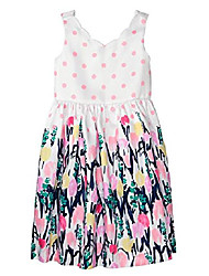 cheap -girls' little floral dress, petal pink dot, 14