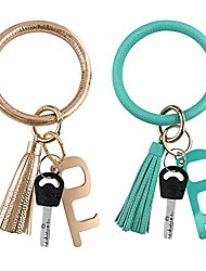 cheap -2pcs leather-keychain wristlet ring bracelets round bangles with no touch door opener for women girls