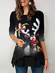 cheap -Women's Christmas Animal Women's Hoodies Long Sleeve Loose Sweater Cardigans Crew Neck Fall Black Blue Wine