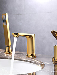 cheap -Bathroom Sink Faucet - Pullout Spray / Widespread Chrome / Electroplated Widespread Single Handle Three HolesBath Taps