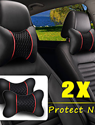 cheap -2Pcs PU Leather Knitted Car Pillows Headrest Neck Rest Cushion Support Seat Accessories Auto Black Safety Pillow Universal Decor