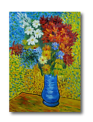 cheap -100% Hand Painted Oil Paintings on Canvas Modern Stretched Abstract Van Gogh Flower Artwork Ready to Hang