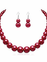 cheap -pearl necklace earring set for women red faux pearl beads strand chunky statement necklace