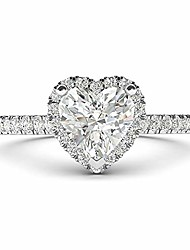 cheap -sterling silver simulated heart-shaped diamond halo engagement ring with side stones promise bridal ring (6.5)