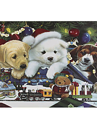 cheap -1000 Pieces Of Thick Paper Christmas Puppy Pet Puzzle