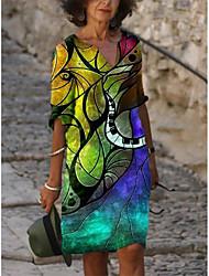 cheap -Women's A-Line Dress Knee Length Dress - 3/4 Length Sleeve Print Color Gradient Print Summer V Neck Elegant Casual Loose 2020 Blue Red Yellow S M L XL XXL 3XL 4XL 5XL