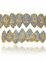 cheap -5x layered 14k real gold plating new 1414 teeth grillz 8 fangs vampire iced out cz hip-hop top and bottom set icy grillz zig zag setting (gold)