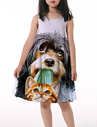 cheap -Kids Little Girls' Dress Graphic Animal Print Gray Asymmetrical Sleeveless 3D Print Cute Dresses Loose