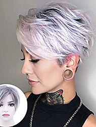 cheap -pixie cut wig short synthetic wig layered straight hair wig bangs for women cosplay (ombre roots dark brown mixed)