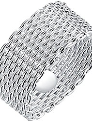 cheap -jewelry womens 925 sterling silver plated fashion weave braided mesh korean style ring wedding band szie 6