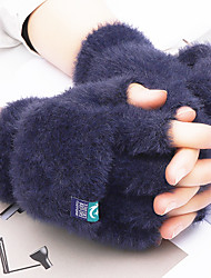 cheap -Winter Bike Gloves / Cycling Gloves Touch Gloves Warm Skiing Winter Sports Fingerless Gloves Sports Gloves Fleece Grey Brown Dark Blue for Adults Outdoor Exercise Cycling / Bike