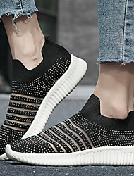 cheap -Women's Trainers Athletic Shoes Flat Heel Round Toe Sporty Casual Daily Outdoor Fitness & Cross Training Shoes Walking Shoes Tissage Volant Rhinestone White Black Pink