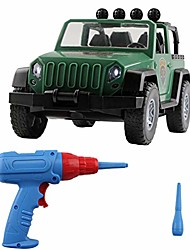 cheap -take apart truck toy set, diy assembled military vehicle car off-road truck with engine sounds led lights, construction vehicle building play learning toys set for boys girls toddlers (green)